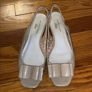 Anne Klein Nude Peep Toe Flats